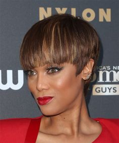 Tyra Banks Short Straight Hairstyle. Try on this hairstyle and view styling steps!  http://www.thehairstyler.com/hairstyles/formal/short/straight/Tyra-Banks-short-smooth-hairstyle