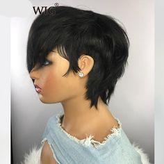 Cheap Human Hair Wigs, Human Wigs, Natural Hair Styles, Short Hair Styles, Funky Short Hair, Pixie Styles, Pixie Cut Wig, Hair Issues, Bob Hairstyles