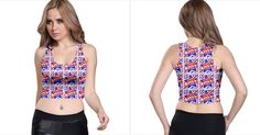 Happy 4th Of July Theme Pattern Racer Back Crop Top