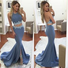 Sexy Halter Front-Split Mermaid Backless Two-Pieces Appliques Prom Dress_High Quality Wedding Dresses, Prom Dresses, Evening Dresses, Bridesmaid Dresses, Homecoming Dress - 27DRESS.COM