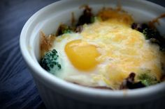 Baked Eggs with Broccoli and Mushrooms | Poor Girl Eats Well