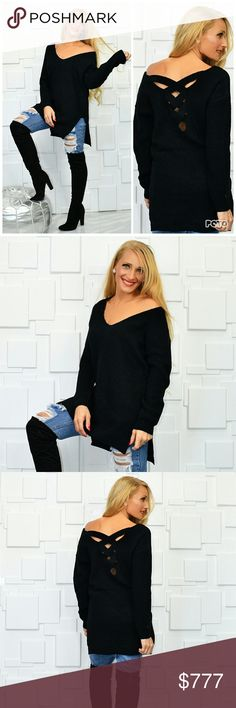 BLACK CRISS-CROSS BACK SWEATER Brand new Boutique item Price is firm Bundle to save  Fabulous black Criss-Cross back sweater. This is just what you need for your fall / winter wardrobe. The color will go with anything. Pair with jeans or leggings for a Chic look True to size for style Material has stretch MODA ME COUTURE Sweaters V-Necks