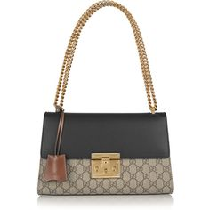Gucci Linea C coated canvas and leather shoulder bag ($1,840) ❤ liked on Polyvore featuring bags, handbags, shoulder bags, gucci, brown, brown leather purse, gucci purses, white leather shoulder bag, white leather handbags and white leather purse
