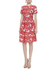 A-line Short-Sleeve Paisley Dress, Vermillion/White by Oscar de la Renta at Bergdorf Goodman.