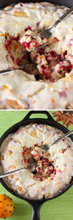 Hot Cranberry Orange Cake: This beautiful and simple cake is glazed right out of the oven! Serve this easy recipe for Christmas breakfast or dessert.