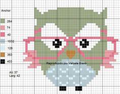 Cross Stitch Owl, Cross Stitch Animals, Cross Stitching, Cross Stitch Patterns, Crochet Patterns, Loom Patterns, Book Sleeve, Crochet Diagram, Needlework