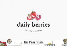 Watercolor Berry Fruit Logo Design - restaurant logo, website logo, blog logo, creative business branding or small business logo.
