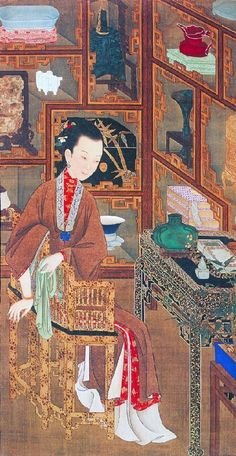 """This image shows a painting from a series of artworks of ancient """"beauties"""" in their daily lives. These paintings are currently found in the Beijing Palace Museum."""
