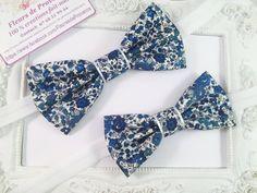 SET 2 Noeud Papillon Tissu Liberty Phoebe bleu - Homme et Enfant : Cravates par fleurs-de-provence