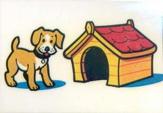 Prepositions. The dog is on the left side of the kennel.