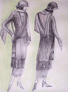 Drawing in pencil (Fashion design)