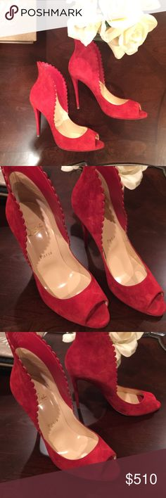 Christian Louboutins Authentic Christian Louboutin Pijonina Flared Collar Suede pump. 4 inch heel. Pre loved condition - see wear in pics. No box - Dust bag only. Christian Louboutin Shoes Heels