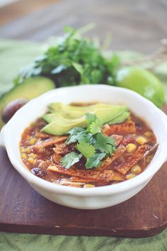 Chicken Tortilla Crockpot Soup #Clean Eating