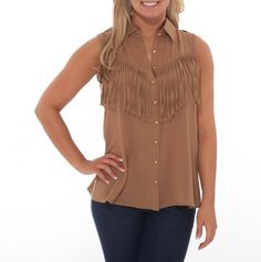 Fringe Button Front Tank - All the Rage Styles for Spring - Events