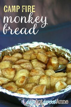 Easy and Delicious camp fire monkey bread recipe (good on a grill too!) Only a few ingredients, and only one that needs to be kept cool. Camping is a huge tradition in my family - stop on by http://saynotsweetane.com for more recipes, DIYs and Crafts!