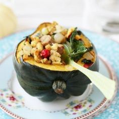 kale cranberry and sausage stuffed acorn squash
