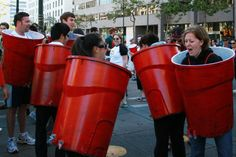 The best photo opp for this costume? A group of solo cups playing flip cup, duh. || The 20 Best DIY Group Costumes for Halloween via Brit + Co.