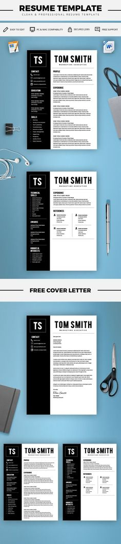 Modern Resume Template - Free Cover Letter - CV Template - MS Word