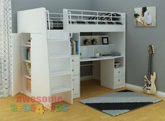 Awesome Beds 4 Kids - Neptune Study Bunk, $1,299.00 (http://www.beds4kids.com.au/neptune-study-bunk/)