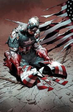 """Civil War"" Captain America---no and this is bothering me. this isn't from civil war this is from ""fear itself"" Marvel Dc Comics, Heros Comics, Bd Comics, Marvel Vs, Marvel Heroes, Comic Book Characters, Comic Book Heroes, Marvel Characters, Comic Character"