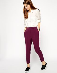 ASOS look. Sneaks, cigarette pant, blouse.