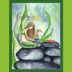 Items similar to Mermaid, Daughter, and Crab from Original Watercolor Painting by Camille Grimshaw on Etsy Mermaid Pictures, Mermaid Pics, Mermaid Artwork, Mermaid Images, Mermaid Mermaid, Mermaid Bedroom, Im A Princess, Artist Bio, Alcohol Ink Painting