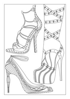coloring for adults Stylish Shoes