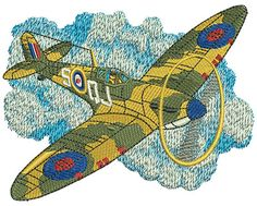 Spit Fire Air plane | Machine Embroidery Design or Pattern