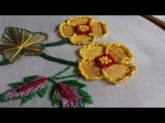 Hand Embroidery stitches tutorial. hand embroidery design by hand. - YouTube