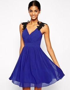 Little Mistress  Plus Size Wrap Front Prom Dress with Floral Embellished Shoulder - cobaltblue