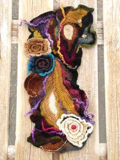 Chunky Crochet Scarf, Crochet Flower Scarf, Freeform Crochet, Crochet Scarves, Crochet Flowers, Art Au Crochet, Simply Crochet, Rainbow Crochet, Crochet Gifts