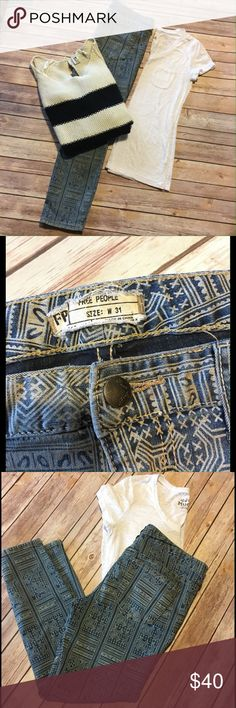 Free People Batik Ankle Skinny Jeans Print Skinny Jeans in Isla - muted tones of blue and tan. Skinny fit with stretch. Size 31 Free People Jeans Skinny