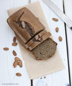 Ripped Recipes - Paleo Almond Butter Protein Bread - A healthy bread recipe that is free of gluten, grains, dairy, soy, and low in sugar! This bread makes perfect toast! Healthy Bread Recipes, Paleo Bread, Low Carb Bread, Snack Recipes, Dessert Recipes, Desserts, Healthy Sweets, Paleo Diet, Vegan Recipes