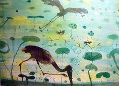 John Olsen Australian Painting, Australian Artists, Pond Life, Olsen, Watercolours, Frogs, Feathers, Artsy, Creatures