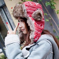 66525790f6b Womens Lovely Warm Winter Bomber Cap Lady Russian Trapper Ear Flaps Ski Hat  red wapiti dear design-in Bomber Hats from Men s Clothing   Accessories on  ...