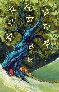 Illustration, design, and and concept art portfolio for Emily Lubanko. Pagan Art, Tarot Card Meanings, Pentacle, Art Portfolio, Book Of Shadows, Tarot Decks, Tarot Cards, Drawings, Illustration
