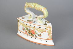 Vintage Ceramic Hinged Iron Trinket Box - Made in Italy - Great Condition