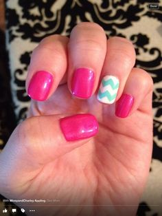 Pink blue  white chevron nails Nails by Missy