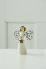 Willow Tree Angel of Light Figurine. Each original #WillowTree #sculpture is hand carved by artist Susan Lordi. Using #family and #friends as models, Susan's goal is to capture a moment in time or express an intimate feeling. Pieces are cast from her original carving and individually painted by hand. Softly washed colors, carved and metal accents, and representative icons of #nature add depth and sentimentality to this beloved line. #Angel