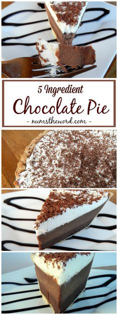 *VIDEO* This Easy Chocolate Pie is absolutely amazing. It's almost impossible to ruin and I bet you already have the ingredients on hand! Hands down BEST PIE! Perfect for Thanksgiving, Christmas, Valentines Day, Easter or birthday's! Easy Chocolate Pie, Chocolate Pie Recipes, Chocolate Cake, Chocolate Cream, Chocolate Buttercream, Chocolate Truffles, Delicious Chocolate, Homemade Chocolate, Easy Desserts