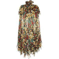 Rodarte Printed Silk Satin Cape (€3.270) ❤ liked on Polyvore featuring outerwear, multi, rodarte, cape coat and brown cape