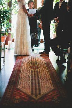 Persian Rug Ceremony Decor / Rhian & Jake's Chic Bohemian Wedding on The LANE / Brooke Adams Photography