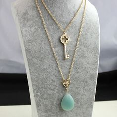 Fashion Brand Design Gold Blue Natural stone Collar Choker Necklace Key Multilayer Necklace Charm Jewelry Factory Wholesale
