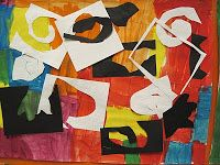 Matisse - positive/negative shapes. Glue black/white shapes over color block painting