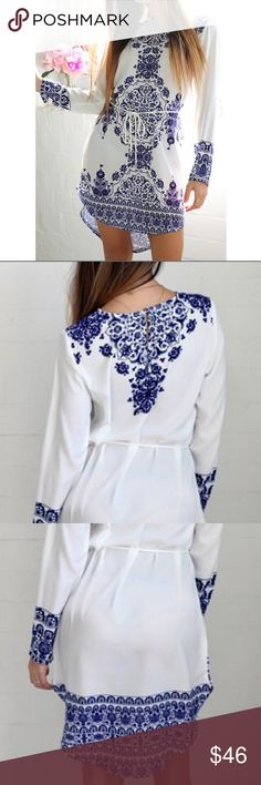 Just In! Porcelain Design - Midi -NWT Women's Long Sleeve Blue & White Vintage Porcelain Style Mini  Blouse Dress. Nice Substantial Fabric W/ A Bit Of Stretch. I Wear Mine Without the Belt. I Get Comments Wherever I Go!!☺️.  Please Refer To Sizing Chart Shown Above In Pictures!   My Inventory As Of Now Is         Four 6-8    Three   8-10.     Four 12-14 Dresses Mini