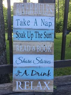 """Found on Etsy - Rustic sign """"River Rules"""" painting, river decor, cottage decor, lakehouse decor, pallet signs"""