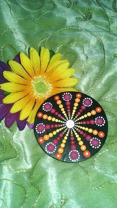 Hand Painted Wood Magnet Dot Art Pointillism by P4MirandaPitrone mpitrone@gmail.com $4