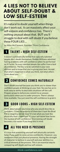 Dealing With Self-Doubt 5 lies you shouldn t believe How to build self-esteem and overcome self-doubt Lies not to believe and practical tips to try out selfesteem confidence infographic steps Building Self Confidence, Self Confidence Tips, Building Self Esteem, Self Esteem Quotes, Low Self Esteem, Self Esteem Activities, Self Improvement Quotes, Self Discipline, Thing 1