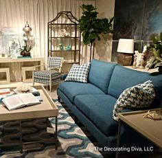 Living Room: Oh, so very pretty in white and blues. Spotted at Bernhardt at the High Point Market 2013. #HPMKT