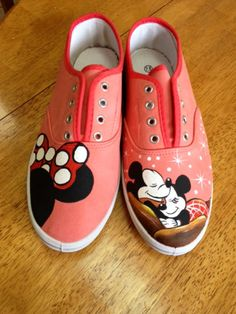 Mickey and minnie mouse hand painted shoes  by MonicaArtGallery